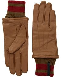 Calvin Klein - Leather Gloves W/ Striped Knit Cuff (black) Extreme Cold Weather Gloves - Lyst