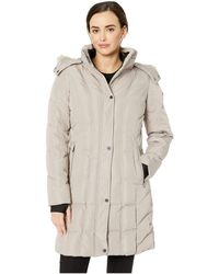 c950c7d562e1 Calvin Klein - Faux Fur Trimmed Down Walker Coat With Vertical Pipping  Detail (thistle)