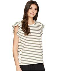 Lauren by Ralph Lauren - Striped Cotton Flutter Sleeve T-shirt (mascarpone Cream/hampton Yellow) Women's T Shirt - Lyst