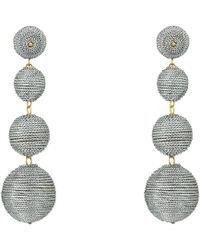 Kenneth Jay Lane - 3 Metallic Silver Thread Small To Large Wrapped Ball Post Earrings W/ Dome Top (silver) Earring - Lyst