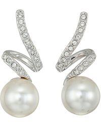 Swarovski - Gabriella Pearl Pierced Earrings (rhodium Plating/white) Earring - Lyst