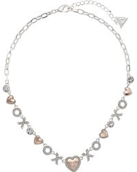 Guess - Xo Heart Necklace - Lyst