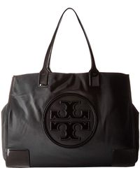8d7c2384580 Lyst - Tory Burch Ella Packable Nylon   Saffiano Leather Tote in Black