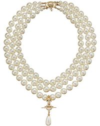 Vivienne Westwood - Three Rows Pearl Necklace - Lyst