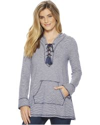 Mod-o-doc - Micro Stripe Lace-up Pullover Hoodie - Lyst