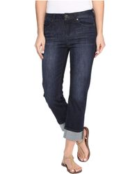 "Liverpool Jeans Company - Gwen ""wide Cuff"" Capris Vintage Super Comfort Stretch Denim In Vintage Super Dark - Lyst"