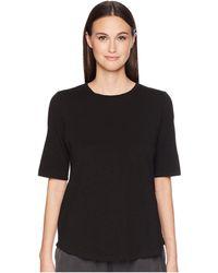 Eileen Fisher - Roundneck Elbow Top (black) Women's Short Sleeve Pullover - Lyst