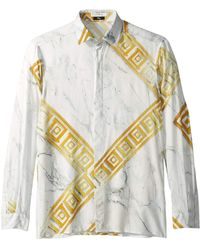 f1734f77 Versace - Gold Key Button Down (white/gold Print) Men's Clothing - Lyst
