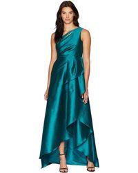 Adrianna Papell - One Shoulder Mikado Gown With Cascade Ruffle Skirt (vivid Malachite) Women's Dress - Lyst