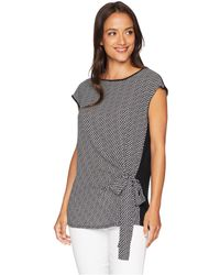 Vince Camuto - Short Sleeve Mix Media Cabana Texture Tie Front Blouse - Lyst