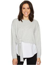 Two By Vince Camuto | Long Sleeve Tie Waist Sweatshirt With Cotton Poplin Hem | Lyst