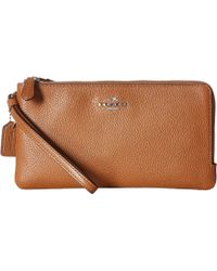 COACH - Polished Pebbled Double Zip Wallet - Lyst