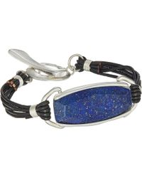 Robert Lee Morris - Brown Leather And Lapis Stone Bracelet - Lyst