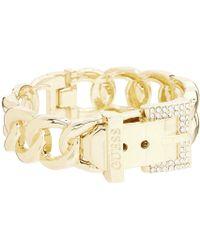 Guess - Buckle Hinge Frozen Chain Bracelet W/ Pave Accent (gold) Bracelet - Lyst