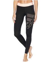 adidas - Alphaskin Sport Long Logo Tights (dark Grey Heather/black/real Magenta) Women's Workout - Lyst