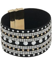 Guess - Wide Faux Leather Studded Cuff With Rhinestone Accents Bracelet (gold/crystal/jet/silver) Bracelet - Lyst