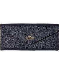 COACH - Soft Wallet In Crossgrain Leather (li/navy) Wallet Handbags - Lyst