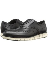 Cole Haan - Zerogrand Wing Ox (navy Ink Leather Closed/ironstone) Men's Lace Up Wing Tip Shoes - Lyst
