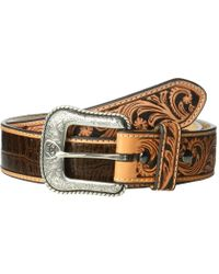 Ariat - Croc Embossed With Turquoise Stone Belt (brown) Men's Belts - Lyst