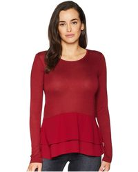 MICHAEL Michael Kors - Woven Mix Double Hem Top (maroon) Women's Clothing - Lyst