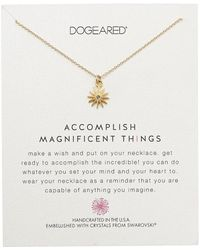Dogeared - Accomplish Magnificent Things, Starburst W/ Swarovski Crystal Necklace (gold) Necklace - Lyst