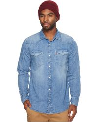0cbe3d9a0c9 Lyst - Levi s Levi ́s® Barstow Solid Snap-front Denim Shirt in Blue ...