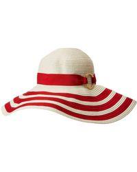 39aa1594f0cc4 Lauren by Ralph Lauren - Packable Signature Grosgrain Sun Hat (cream red)  Caps