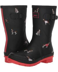 Joules - Mid Molly Welly (black Floral) Women's Rain Boots - Lyst