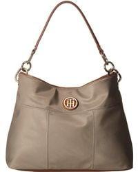 77e8eb85 Tommy Hilfiger - The Signature Smooth Nylon Small Hobo (khaki) Hobo Handbags  - Lyst