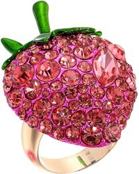 Betsey Johnson - Bright Pink Strawberry Ring - Lyst