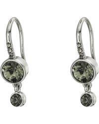 French Connection - Double Drop Stone Earrings (black Diamond) Earring - Lyst