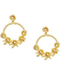 Kenneth Jay Lane - Satin Gold W/ Flowers/white Pearl Center Hoop Pierced Earrings - Lyst