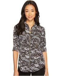 MICHAEL Michael Kors - Lace Print Lock-tag Zip Front Roll-sleeve Shirt - Lyst
