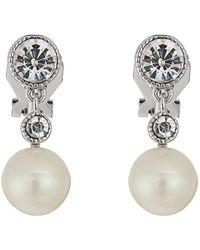 Lauren by Ralph Lauren | Social Set Pearl Crystal Double Drop Clip Earrings | Lyst