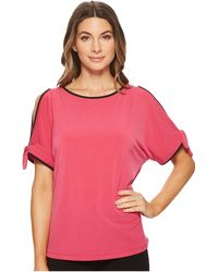 Ivanka Trump - Matte Jersey Cold Shoulder With Piping Blouse - Lyst