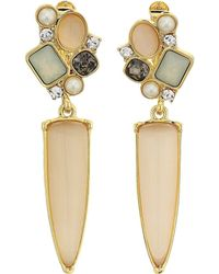 Vince Camuto - Drop Clip Earrings (gold/carnelian Cats Eye/ivory/greige/sand Opal/crystal) Earring - Lyst