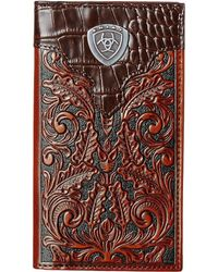 Ariat - Tooled Rodeo Wallet With Gator Tab And Logo Concho - Lyst