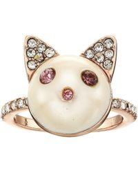 Betsey Johnson - Pearl Cat Ring (pink) Ring - Lyst