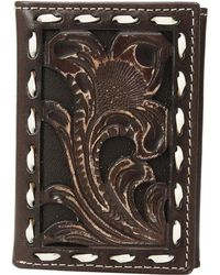 Ariat - Floral Embossed With Buckstitch Lace Trifold Wallet (brown) Wallet Handbags - Lyst