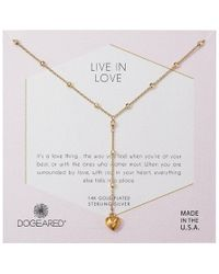 Dogeared - Live In Life, Puffy Heart Y-necklace (gold) Necklace - Lyst