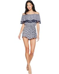 Jack BB Dakota - Genesis Ikat Printed Romper With Tassel Trim (dark Indigo) Women's Jumpsuit & Rompers One Piece - Lyst