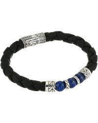 John Hardy - Classic Chain Bracelet On 8 Mm. Black Leather With 8 Mm. Lapis Lazuli Beads (silver) Bracelet - Lyst