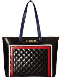 Love Moschino - Color Block Quilted Tote (black Multi) Tote Handbags - Lyst