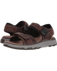 Clarks - Untrek Part (dark Tan Leather) Men's Sandals - Lyst