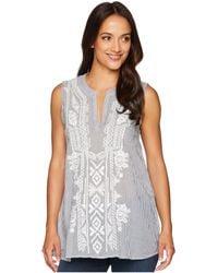 Dylan By True Grit - Artisan Sleeveless Stripe Tunic With White Embroidery (indigo) Women's Sleeveless - Lyst