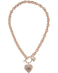 Guess - Pave Heart With Logo Banner Pendant Toggle Necklace (silver) Necklace - Lyst