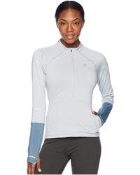 Asics - Lite-show Winter Long Sleeve 1/2 Zip (mid Grey/ironclad) Women's Long Sleeve Pullover - Lyst