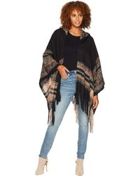 San Diego Hat Company - Bsp3545 Open Front Knit Poncho With Hood (black) Women's Clothing - Lyst