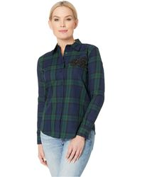 fb646ceb Lauren by Ralph Lauren - Petite Patch Tartan Cotton Shirt (navy/green Multi)