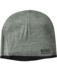 BOSS - Logo Embroidered Ciny Knitted Beanie (medium Grey) Scarves - Lyst